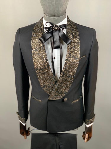 Men's Black Gold 3pc Tuxedo