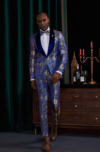 Men's Blue Lapel Tuxedo + Pants
