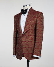 Men Wine-Red Gold Tuxedo