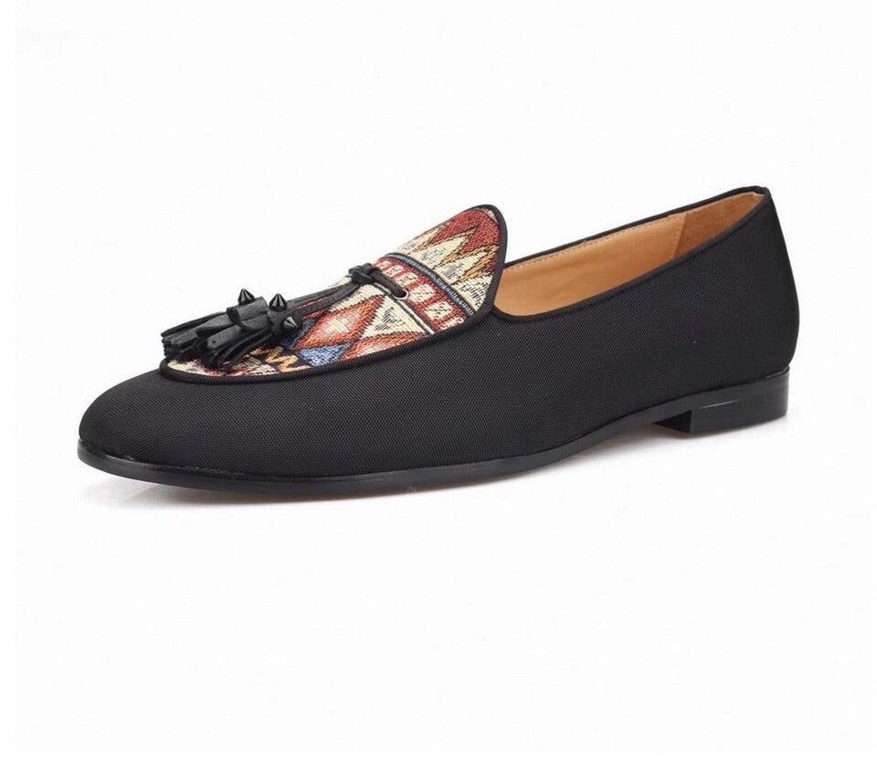Men's Black Canvas Ethnic Print Loafers