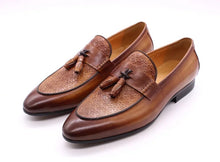 Mens Tassel Brown Genuine Leather Italian Loafers