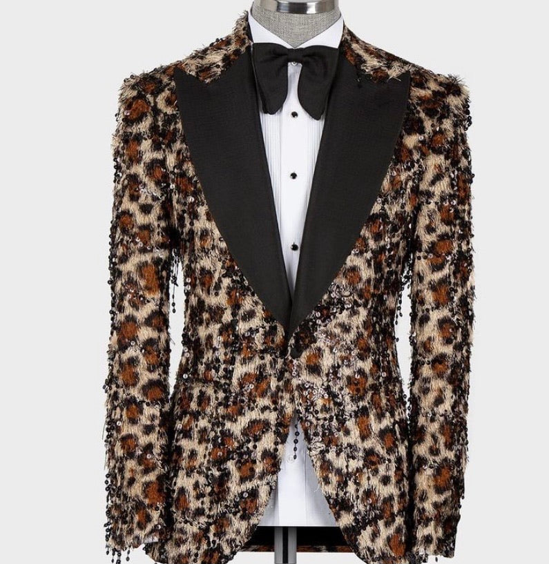 Men's Cheetah print Black Tuxedo 2pc Tuxedos