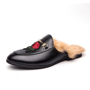Men's Roses Black Leather Loafers