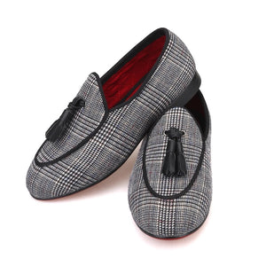 Children leather tassel Handmade loafers