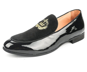 Men Black Embroidered Velvet Loafers