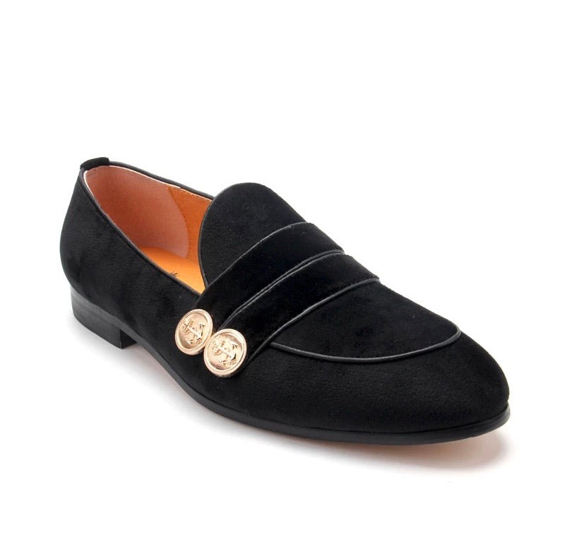 Men's Black Strap Buckle Loafers