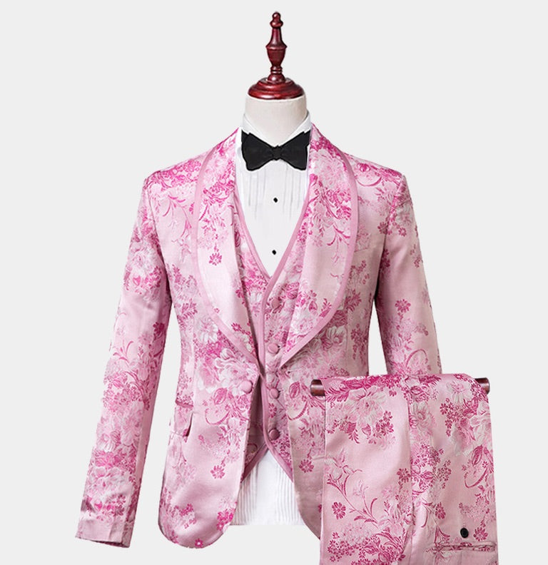 Men's Pink Print Cream Tuxedo 3 Piece