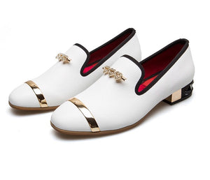 Women White Leather Heels Loafers