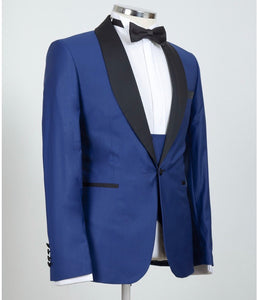 Men's Black Lapel Blue Tuxedo + Vest + Pants