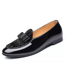 Mens Leather Black BowTie Loafers