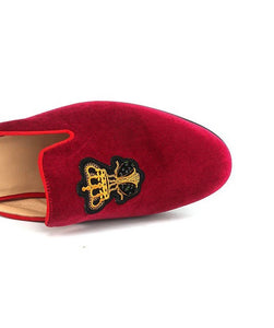 Men's Embroidery Crown Velvet Slippers