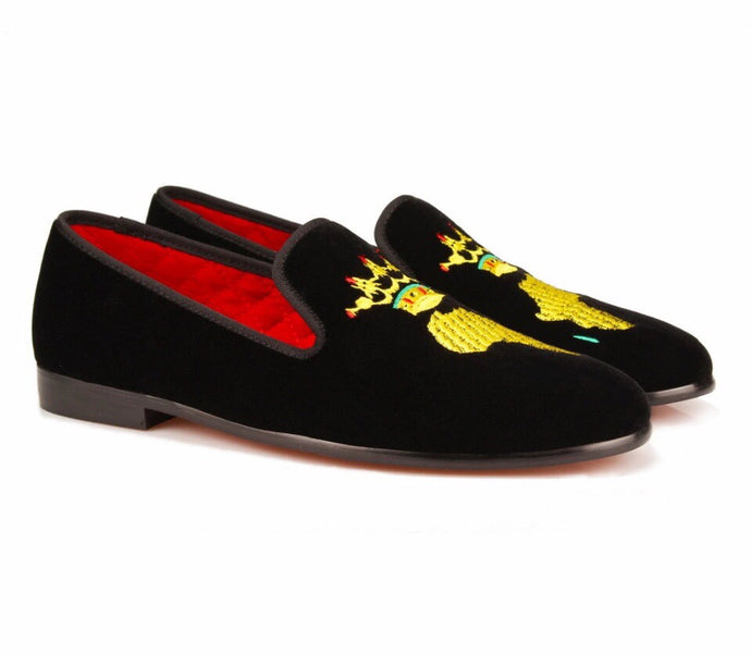 Men Embroidery African Map Loafers