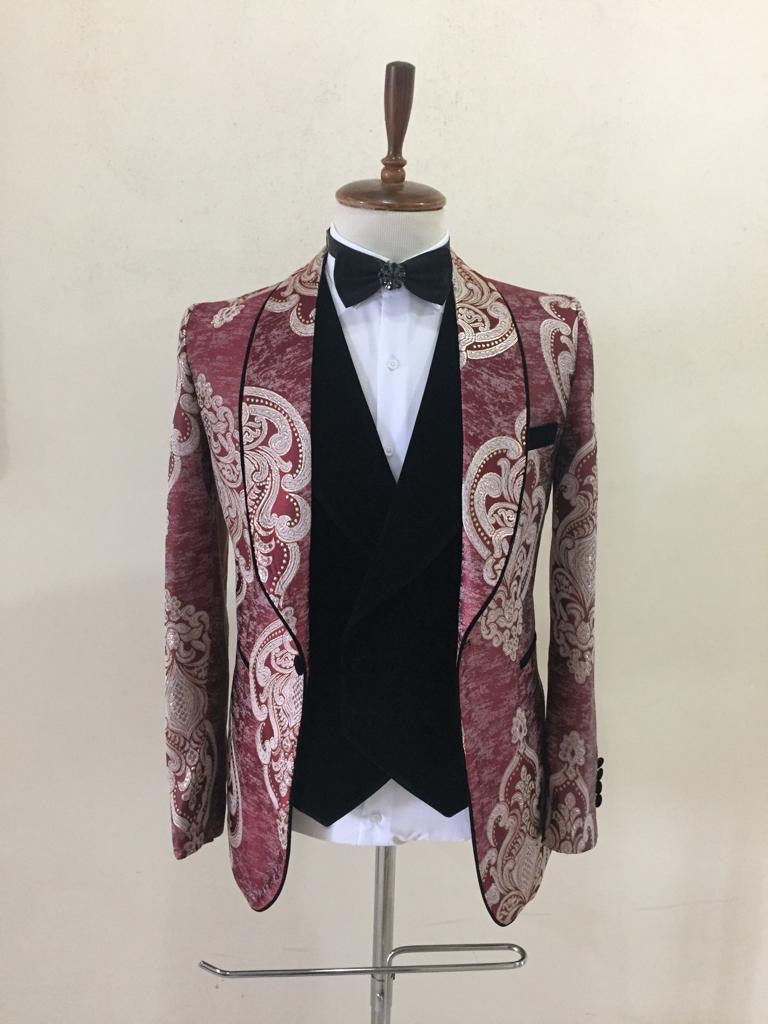 Men's Burgundy Black 3 piece tuxedo