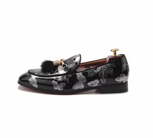 Men's Leather Gray butterfly Tassel Loafers