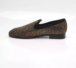 Men's Gold Rhinestone Loafers