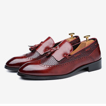 Men's Classic Wine Red Leather Loafers
