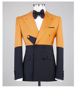 Men's Strap Gold DOUBLE BREASTED SUIT