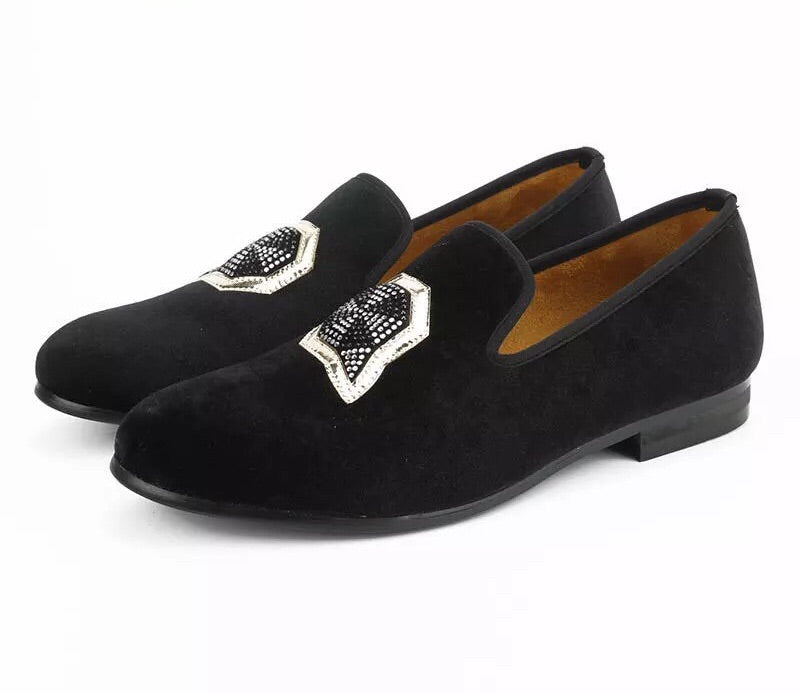 Men Black Velvet Star Loafers