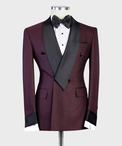 Men's Wine Red Tuxedo + Pants