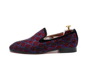 Men's Burgundy Blue Loafers Shoes