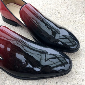 Men Black Red Leather Loafers