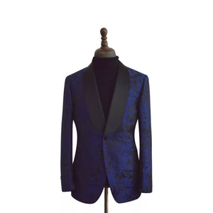 Men's Navy Blue Black Print Tuxedo