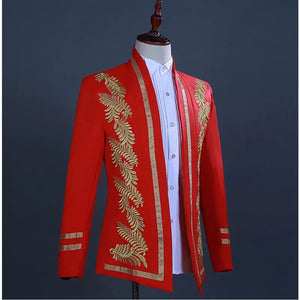 Men's Gold Embroidery Red 2 Piece Tuxedo
