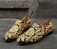 Men's Gold Black Embroidery Loafers