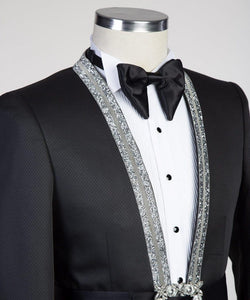 Men's Black Sliver Lapel Tuxedo + Pants