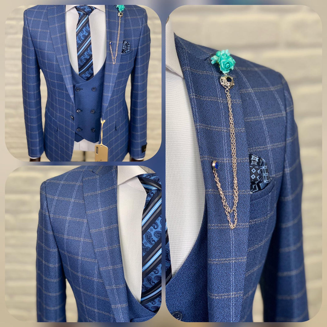 Men's Blue Business 3 Piece Suit
