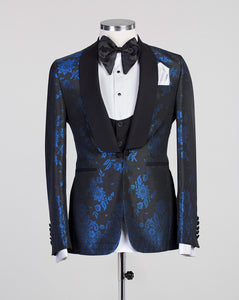 Men 3Pc Print Tuxedo +Vest+Pants