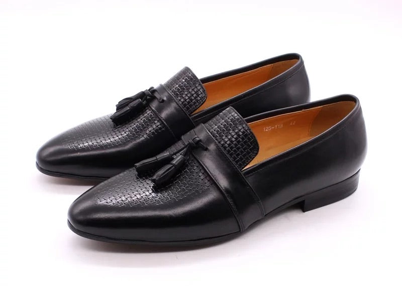 Men's Tassel Black Genuine Leather Loafers