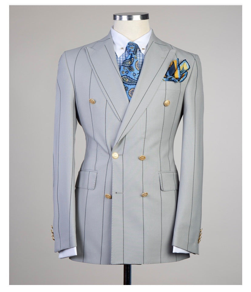 Men's Gray DOUBLE BREASTED SUIT