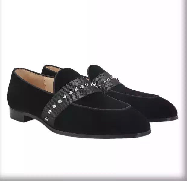 Men's Black Velvet Men Spiked Loafers