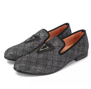 Men's Gingham Gray Loafers