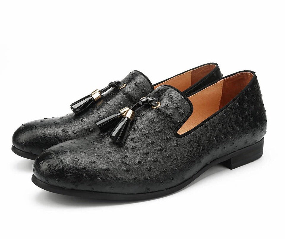 Men Black Golden Tassel Leather Loafers