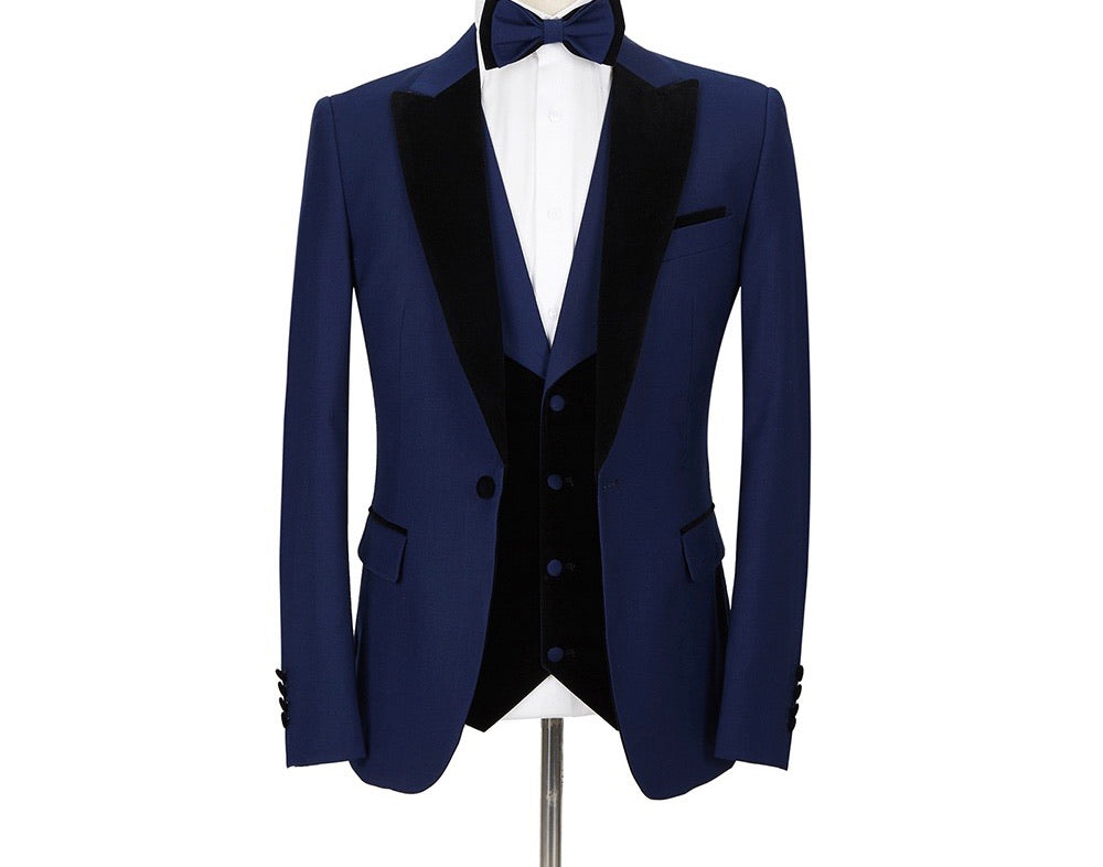 Men's 3Pc Navy Blue Tuxedo