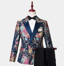 Men Navy Blue Floral 3 Piece Tuxedo