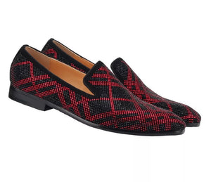 Men's Red rhinestones Loafers