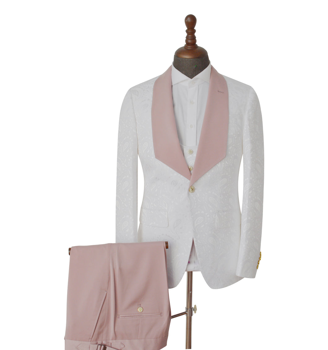Men's Pinkish White One Button 2 Piece Suit