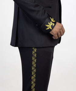 Men's Black Gold Lapel Tuxedo + Pants