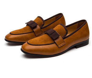 Men Leather Bow Tie Brown Loafers