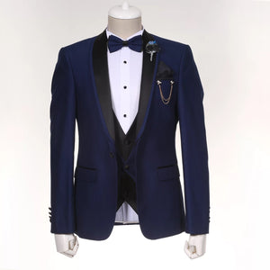 Men's Navy Blue 3 Piece Tuxedo