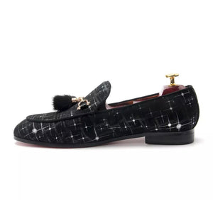 Men's Italian Dress black velvet loafers
