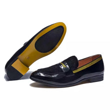 Men's Black Yellow Leather Loafers