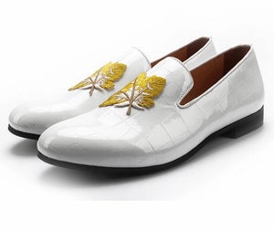 Men Black White Leather Leaves Embroidery Loafers