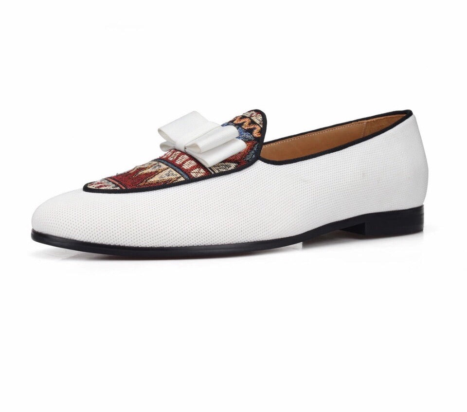 Men White Bow Tie Loafers