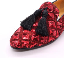 Men's glitter Red tassel loafers