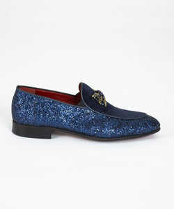 Men's Navy Blue Bowtie Loafers