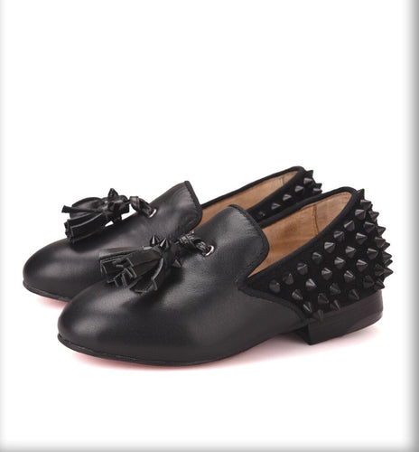 Kids Black tassel spikes loafers Shoes